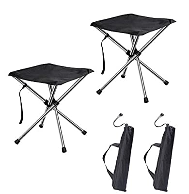 chiitek Portable Camping Stools 2Packs Foldable Chairs Extra-Light Weight Unfold Size 12.612.613.8inches Easy to Carry to Hiking, Beach, Camping, Fishing and Other Outdoor Activities