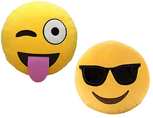 ML Pack 2 x Cojín Emoji Sonrisa, Almohada Emoji Emoticon Relleno Suave Juguete de Peluche 35x35x5cm Cada uno (Amarillo-Beso-gruñon)