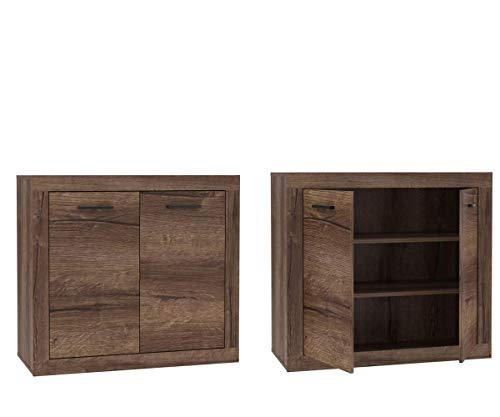 Furniture24 Kommode Trass TRAK221, Sideboard, Scranbk, Wohnzimmerschrank mit 2 Türen, Schlameiche Dekor