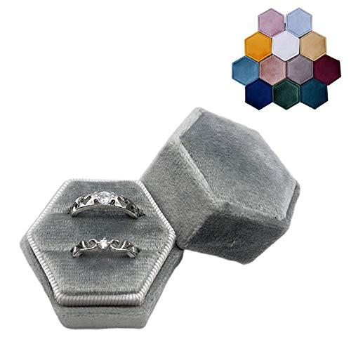 xllLU WEDFTGF Caja de anillo doble de terciopelo hexagonal para ceremonia de boda con tapa desmontable, soporte para anillo para ceremonia de boda, anillo ajustable, anillo de corazón