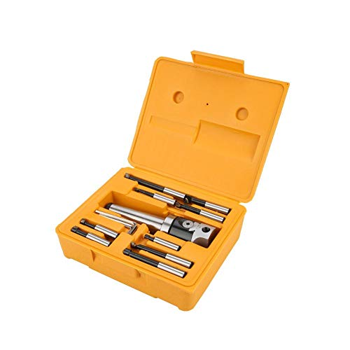 JingYi Boring Head,MT4-M16 Arbor Adapter Taper Shank F1-12 50mm Boring Head 9pcs 12mm Boring Bar Set,Durable CNC Milling Tools