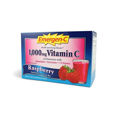 Emergen C Raspberyy Vitamin Fizzy Drink Mix, 1000 Mg - 30 Packet per Pack - 3 Packs per case.
