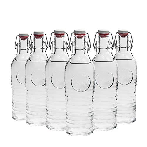 Bouteille à bouchon mécanique Officina - en verre - style vintage/1825 - 1200 ml - transparent - lot de 6