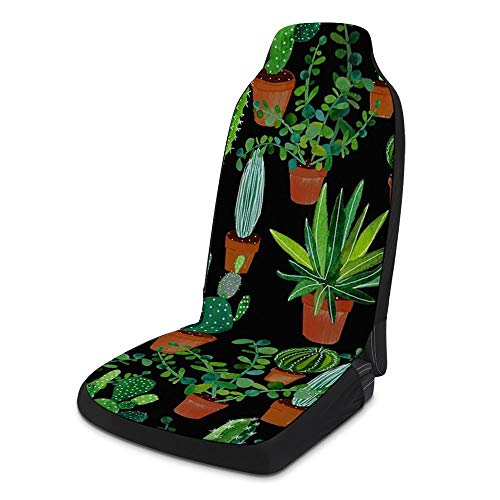 NIKIMI Geat Cactus 2 Pcs Front Seat Protective Cover Anti Slip Polyester Cloth Sponge Universal Seats Protector Cushion Accessory for Sedan
