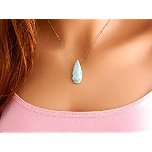 Dainty Minimalist Larimar Necklace Rose Gold Chain