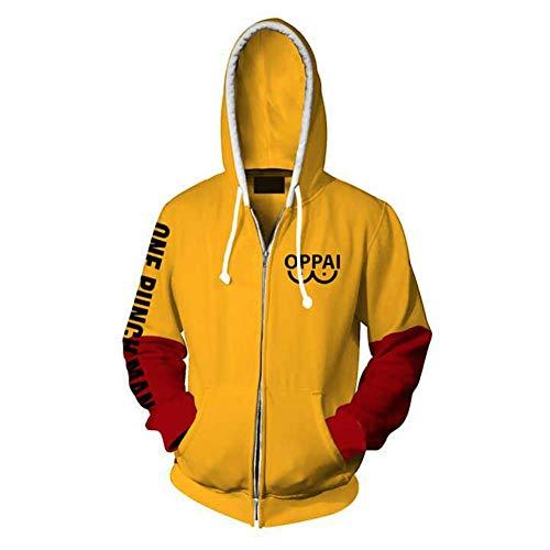 Anime One Punch Man Cosplay Saitama Oppai Hoodie Cosplay Costume 3D Printed Hooded Sweatshirt s Yellow