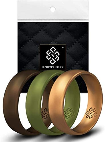 Knot Theory Woodland 3 Pack Silicone Ring for Men Green Gold Bronze Breathable Rubber Wedding product image
