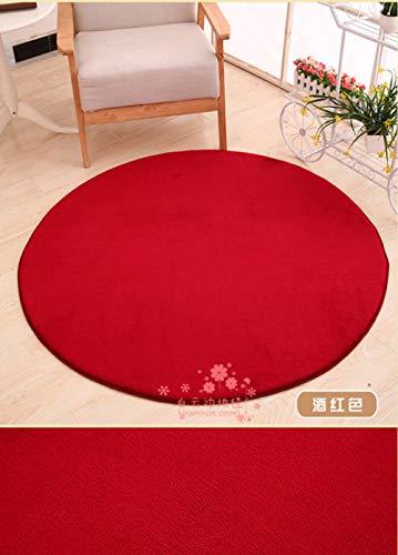 Youuzha tapijt, eenkleurig, Japanse stijl, modern, dik leer, zacht, rond, groot tapijt, woonkamer, badkamer, cirkel, yogamatten Diameter 80CM Azul Y Amarillo