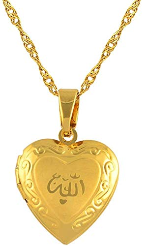 Xianglsp Co.,ltd Corazón Allah Collar Colgante para Mujeres Joyería Musulmana Hombres Color Oro Islam Cadena Collares Profeta Muhammad Collar Longitud 45Cm