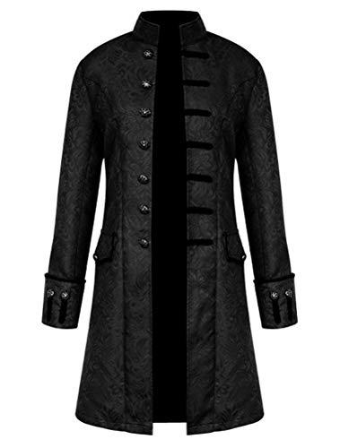 ROBO Herren Jacke Punk Langarm Gothic Retro Mantel Uniform Stehkragen Cosplay, DE 2XL/Tag 4XL, 1-schwarz
