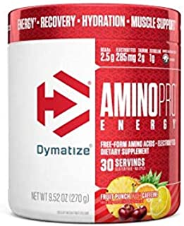 Dymatize AminoPro + Energy Endurance Amplifier Powder, Reinforced with Caffeine, Electrolytes & Amino Acids, Fruit Punch, ...