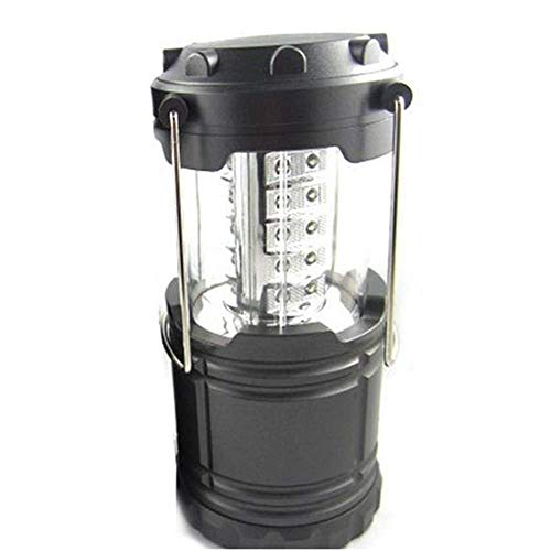 RONGW JKUNYU La iluminación Exterior, 30 LED de la Tienda Portable de la Linterna Estirable Operado lámpara Que acampa de la batería Senderismo luz (Color: Negro)