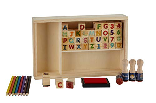 Toysters Wooden My Alphabet and Number Stamp Set For Kids | Wooden Letters | ABC and 0-9 Stampers Kit Includes: 40 Stamps + 8 Colored Pencils + 1 Washable Non-Toxic Ink Pad | Safe For Children (AC950)