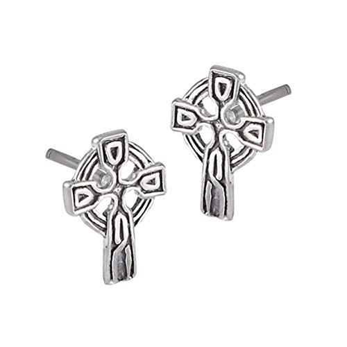 Tiny Sterling Silver Celtic Knot Cross Stud Post Earrings