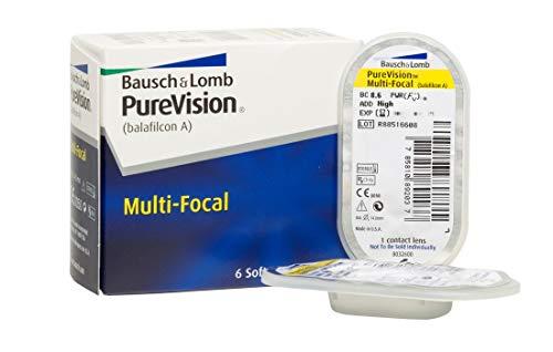 BAUSCH + LOMB - PureVision® Multi-Focal - Lentes de contacto de reemplazo mensual - Pack de 6