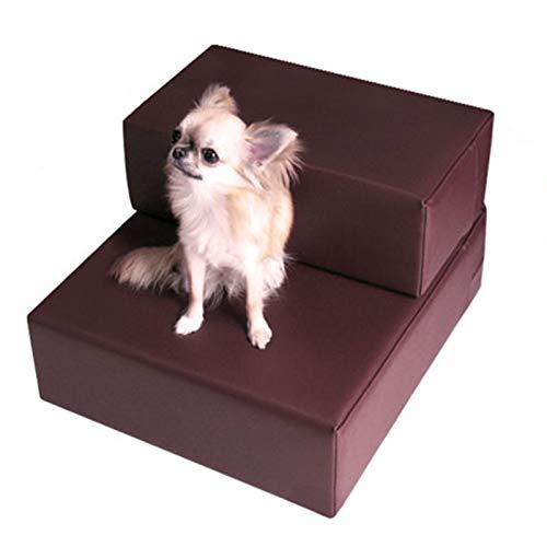Baiyin Rampa para Mascotas, PU Forro De Esponja Impermeable Antideslizante Fácil De Limpiar Cabello No Pegajoso Altura De Empalme Libre Escalera para Mascotas (Color : Brown, Size : 40X48X20CM)