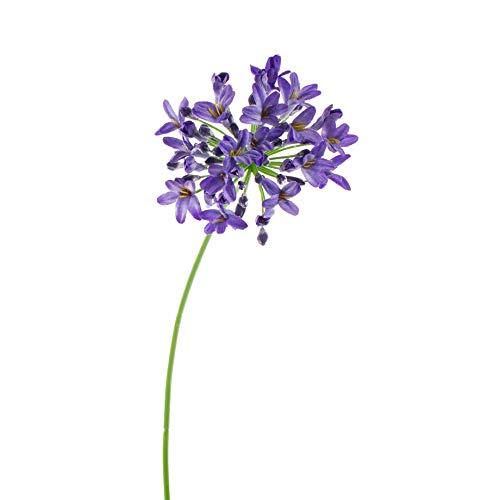 artplants.de Set de 3 x Agapanto Artificial PHILINA, Azul, 75cm, Ø 14cm - Varas Decorativas - Umbelas