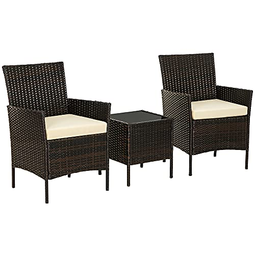 SONGMICS Patio PE Wicker Chairs, Set of 3 Small Patio Furniture, for Front Porch Outside Balcony, Brown and Beige UGGF001BR01