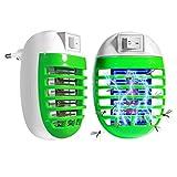 FISHOAKY Lampara Mata Mosquitos Electrico, Repelente Mosquito Tropical, 2 Pack UV Lámpara Anti Mosquitos Socket LED Luz Mata Mosquitos, Insectos, Polillas, Moscas Enchufe EU (Verde)