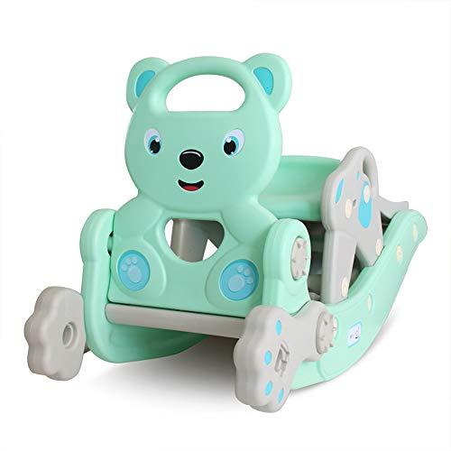 Toboganes para niños, 3 en 1 tobogán de caballo mecedora combinación interior para niños con música Baby Trojan Rocking Car Toy multifunción interior hogar bebé juegos infantiles juguetes,Azul