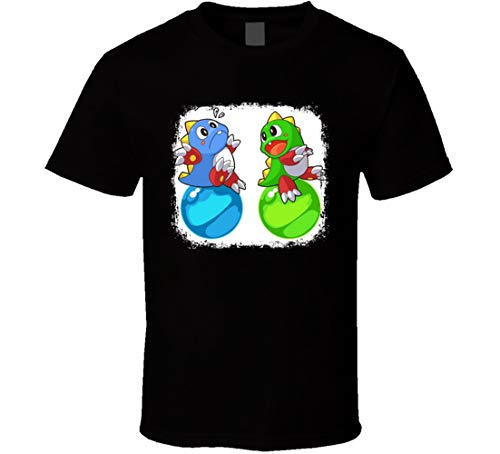 Bub and Bob Bubble Bobble Tee Retro Videospiel Charaktere Grunge T-Shirt Schwarz Gr. M, Schwarz