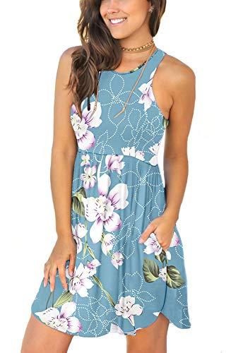 LONGYUAN Damen Sommerkleid, ärmellos, lässig, Swing-Kleid, elastisch, mit Taschen - - Groß
