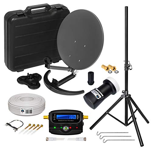 HD Camping Sat Anlage im Koffer + Stativ von HB-DIGITAL: Mini Sat Schüssel 40cm Anthrazit + Stativ + UHD Single LNB 0,1 dB + 10m SAT-Kabel + F-Stecker + Digital SATFINDER | 4K UHD Full HD 1080p fähig