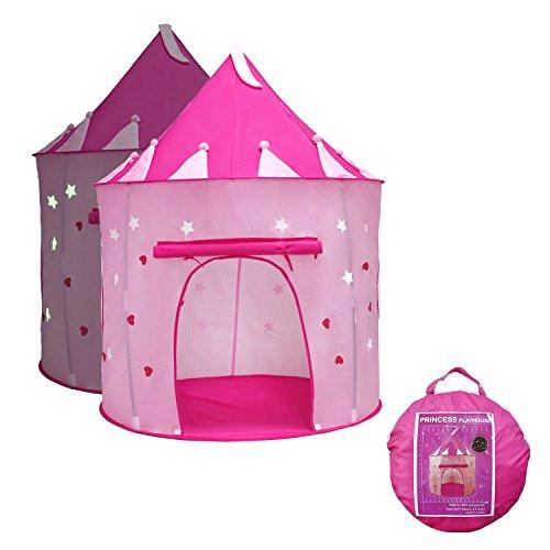 YOOBE Princess Castle Gioca a Tent con Glow in The Dark Stars, i Tuoi Bambini Si divertiranno con Questo Giocattolo Pieghevole per Tende / casa Pieghevole Pop Up Rosa per Uso Interno ed Esterno