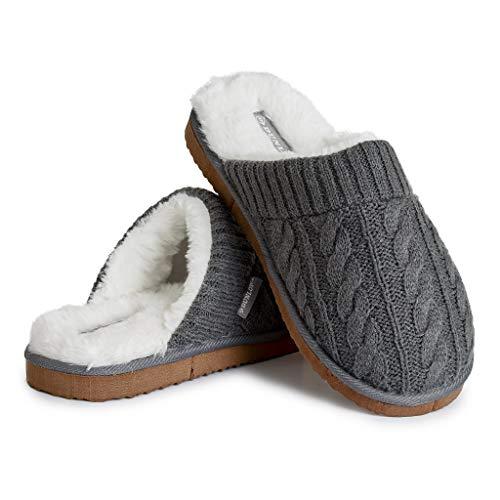 Dunlop Ciabatte Uomo, Pantofole Pelose E Calde da Casa Invernali, Idee Regalo Compleanno, Fluffy Slippers Memory Foam, Ciabatta Peluche Antiscivolo (Grigio Scuro, Numeric_44)