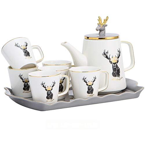 ZOUJIARUI Conjunto de Taza de té, Conjunto de Platos de Taza de café, con Bandeja y Tetera, para café Cappuccino Latte y Juego de té de 8 (6 * Taza de té 1 * Bandeja 1 * Tetera) (Color : B)