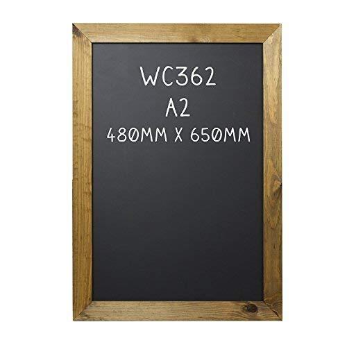 Chalkboards UK Kreidetafel mit Rahmen, Holzrahmen, Holz, Schwarz, A2 (48 x 65 x 1.5cm)