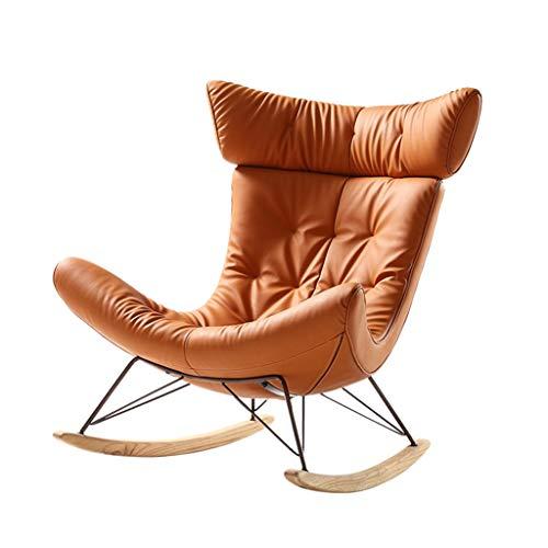 HYYTY-Y Einzelsofa Schaukelstuhl, Leder Home Nap Terrasse Lazy Lounge Chair, Schneckenstuhl mit Fußschemel 702-YY (Color : Rocking Chair, Size : Without Footstool)