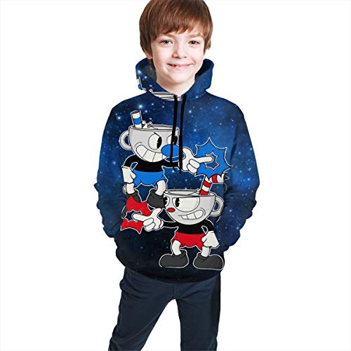 OSCAR CURTIS Unisex Kids Hoodies Sweaters Cup-he-ad Pullover Clothes with Pocket for Teens S(7-8) Black