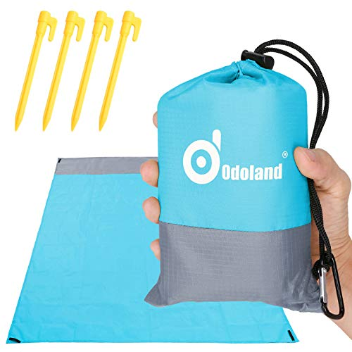 Odoland Picknickdecke Stranddecke Wasserdicht 200 * 140 cm mit 4 Heringen Ideal für den Park Wandern Reise und Camping Blau