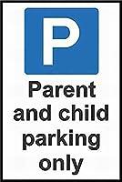 メタルサイン 親子駐車場 スクール安全サイン お知らせ 警告サイン 装飾 品質 アルミニウム (1個セット)