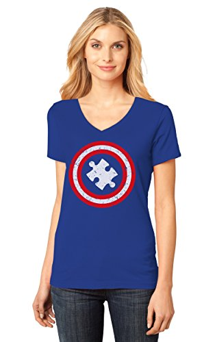 Autism Awareness - Captain Autism Women's Fitted V-Neck...