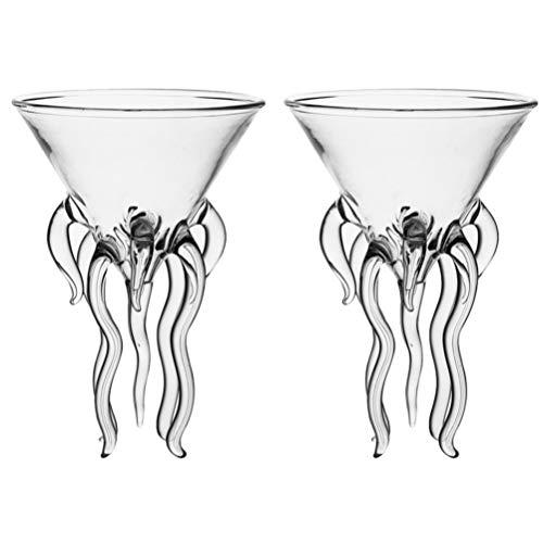 DOITOOL 2pcs Octopus Cocktail Glass Martini Jellyfish Glass Wine Glasses Drinkware Bar Goblet Tools...