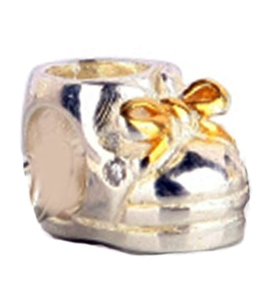 Golden Over Baby Shoe Charm Bead - .925 Sterling Silver - Fits Pandora Charm Bracelet