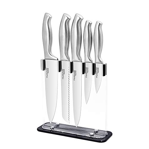 Kitchen Knife Block Set - Sharp Stainless Steel Knives - 5 Pieces Durable Blades with Clear Acrylic Block - by Nuovva