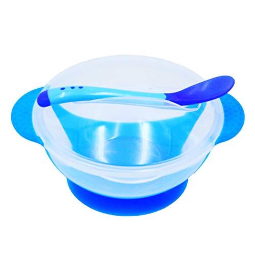 Gankmachine Bambino Sucker Ciotola Bambini Formazione Ciotola con la Temperatura Spoon Durevole di Posate Blu