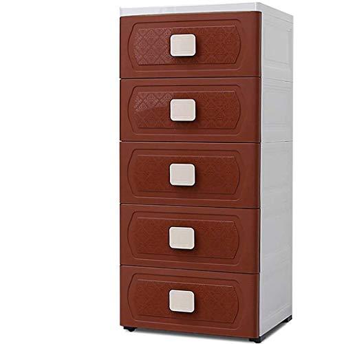 Cabinet de rangement en plastique de ménage, boîte de stockage de cinq couches avec le tiroir, organisateur de placard de sous-vêtements avec le couvercle et la poignée (Couleur : Brown)