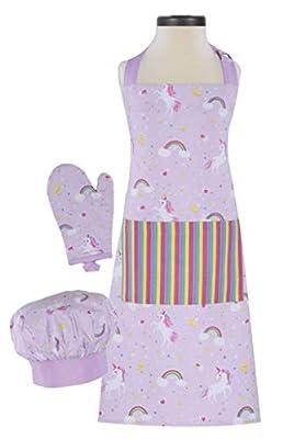 Handstand Kitchen Child's Rainbows and Unicorns 100% Cotton Apron, Mitt and Chef's Hat Gift Set