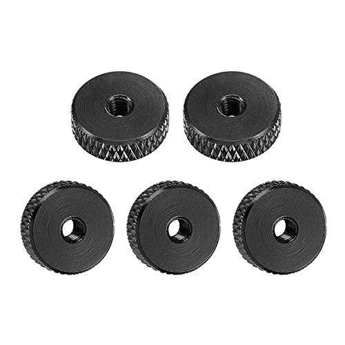 uxcell Flat Knurled Nut - M3 x 12mm x 4mm Thumb Nuts Lock Adjusting Nuts Aluminum Alloy Black 5Pcs
