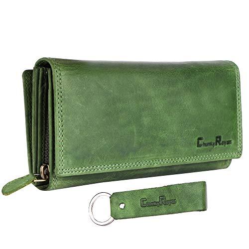 Chunkyrayan Mujer Cartera de Cuero Real XXL protección RFID Que Incluye Llavero de Piel Verde GB-7 Green Madrid 1