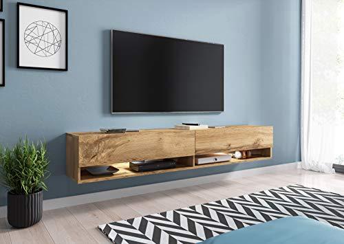 FURNIX – Meuble TV/Meuble de Salon – AXE – 180 cm – Style Industriel - 2 Compartiments fermés - 2 Niches Ouvertes – Chêne wotan – sans LED