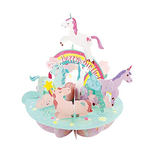 3D Pop Up Birthday Unicorns Kids Greeting Card