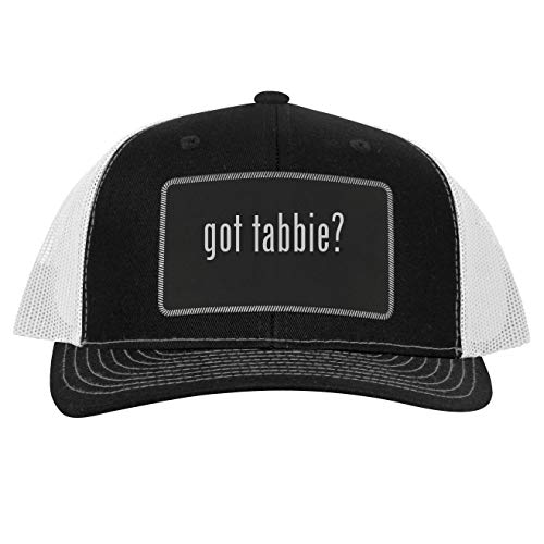 got Tabbie? - Leather Black Patch Engraved Trucker Hat, Black-White, One Size