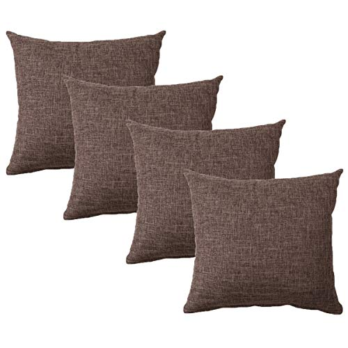 UNIAI Burlap Linen Throw Pillow Cover 18'x18' Home Decorative Solid Square Pillowcase(4 pack), Thick, Luxury, Handmade with Invisible Zipper for Sofa Couch Bed,Car, Camping, Office