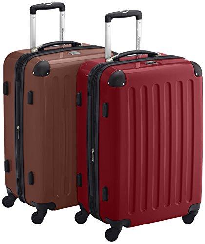 HAUPTSTADTKOFFER - Alex Kofferset - 2 x mittelgroßer Koffer Hartschalentrolley mit Erweiterung und TSA-Schloss, 55 cm, 42 Liter, Braun-Rot