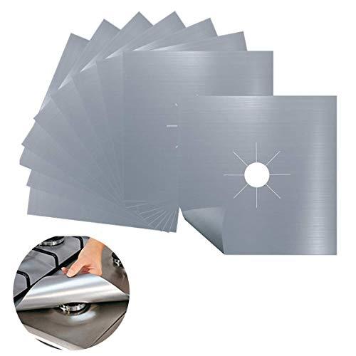LBWNB Herdabdeckplatten (10 Stück), wiederverwendbare Gasherdplatten für die Küche, hitzebeständig, schneidbar, spülmaschinenfest und hält Ihren Herd sauber (Silber)